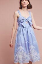 NEW $178 Anthropologie Uma Embroidered Dress In Sky Blue Size Medium