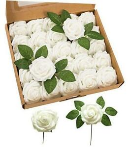 Artificial Flowers Latex Foam Roses 25pcs Real Looking Fake Roses with White