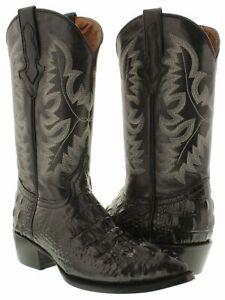 Mens Cowboy Boots Black Alligator Hornback Print J Toe Size 125 Size 135