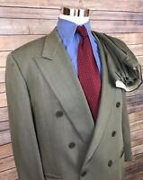 Giorgio Armani Collezioni Olive Striped Double Breasted Suit Men's 42R 34x28
