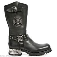 NewRock New Rock MR030 Strap Skull Metalic Black Leather Boot Biker Goth Boots