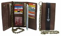 RFID Blocking Men's Biker Vintage Brown Genuine Leather Long Tri-fold Chain Wall