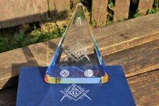 Masonic Laser Etched Crystal Paperweight - Freemasons - Square and Compasses