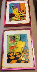 2 Colorful original Signed acrylic painting By Jen Nelson Australian Artist Art