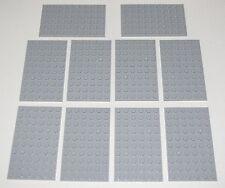 Lego Lot of 10 New Light Bluish Gray Plates 6 x 10 Dot Building Blocks