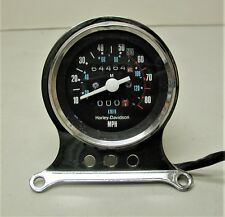 Vintage HARLEY DAVIDSON Sportster Motorcycle Speedometer with Chrome Mount