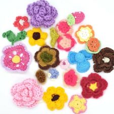 20pcs Mixed Colors Flower Crochet Handmade Applique Decoration Craft Sewing