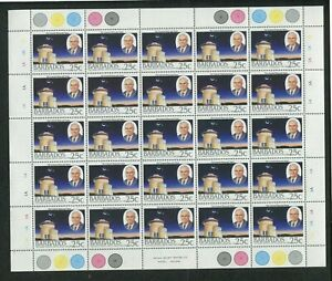 1988 Barbados Postage Stamps #735-738 Full Sheets Set- Harry Bayley Obsveratory