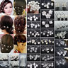 6/20/40X Crystal Diamante Pearl Flower Bridal Wedding Prom Hair Pins Clips Lot