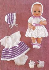 "KNITTING PATTERN BABY DOLLS CLOTHES 12"" DK  2 DRESS OUTFITS"