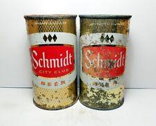 Set of (2) Gold Schmidt City Club Flat Top Beer Cans St. Paul, Minnesota