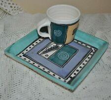 GABRIELLE SCHAFFNER Ceramics Set ESPRESSO CUP+SAUCER HAND MADE PAINT OOAK #3
