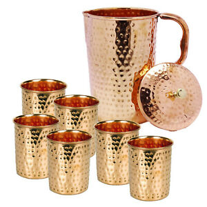100% Pure Copper Water Jug 1.5 L Hammered Energized Pitcher Ayurvedic+6 Tumbler