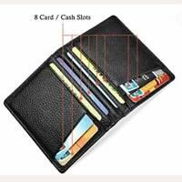 Men's Soft Smooth Genuine Leather Billfold Slim Wallet Credit Card Holder