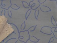 Blue on Blue Floral Cotton Drill Fabric - 150cm wide x 2 metres
