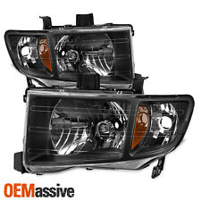 Fits 2006-2014 Honda Ridgeline Black Replacement Headlights LH + RH Headlamps