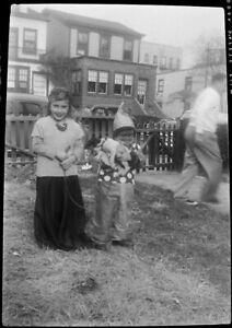 #B qq Vintage Photo Negative- Children in Halloween Costumes