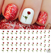 Rose and Stem Valentines Day Nail Art Waterslide Decals - Salon Quality!