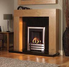 "GAS CHROME SILVER WOOD OAK COAL FLAME SURROUND BLACK GRANITE FIRE FIREPLACE 48"""