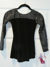 New Motionwer Figure Ice Skating Dress Black Velvet & Sequin Child Med Sz 8 10