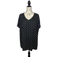 41 Hawthorn Stitch Fix Womens Blouse Polka Dot Black White 2X Short Sleeve Shirt