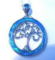 """*NEW* STUNNING 925 SILVER BLUE FIRE OPAL TREE OF LIFE PENDANT + 20""""SILVER CHAIN."""