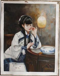 """Fine art Qing Dynasty court lady beauty unique/original oil painting 30X40"""""""
