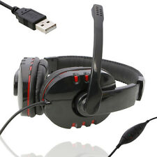 Hot 2m Length Luxury Leather Headset with Microphone for PS3/PC Plastation 3