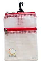 The Golf Pouch, RED Trim, Clear See-through Accessories Storage Tote.
