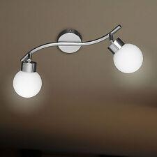 WOFI lámpara de techo APOLLO 2 Luces Níquel Cristal Bola Blanco Ajustable