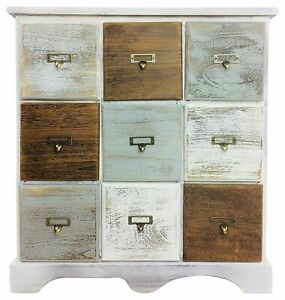 Solid Wood Cabinet With 9 Drawers 64cm Storage Unit Rustic Distress Finish