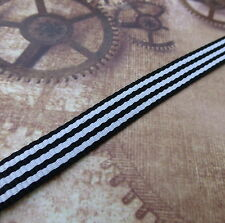 5 Meters Black and White Ribbon 1cm Wide