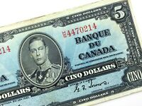 1937 Canada 5 Dollar Circulated HS Prefix Coyne Towers Banknote Five S915