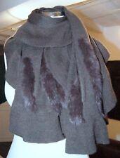 étole châle en laine mélangé lapin tricoté 159 cm x 75 cm