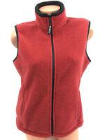 Eddie Bauer Women's Vest Polartec Fleece Red Full Zip Pockets Jacket Size M