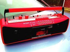 VINTAGE SHARP QT-250E Rosso RADIO LETTORE DI CASSETTE REGISTRATORE STEREO Portatile Ghetto Blaster