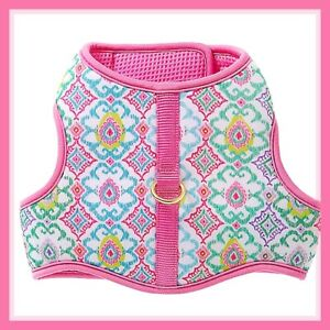 Top Paw Bubblegum Pink Green Floral BoHo Print Soft Comfort Vest Dog Harness M