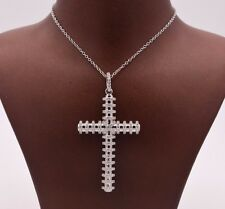 """2"""" Cross Round CZ Charm Pendant Necklace with 18"""" Chain Sterling Silver 925"""