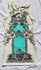 EX CON Dotti Size L Dress Scuba Cream Baroque Open Back Print Event Wedding