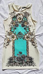 EX CON Dotti Size L Dress Scuba Cream Baroque Open Back Print Event Wedding