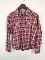 Wrangler Women's Western Flannel Shirt Pink Plaid Long Sleeve Pearl Snap L