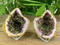 Gold Pink Geode Pair Crystal Quartz Gemstone Specimen Dyed Morocco Geode Reiki.