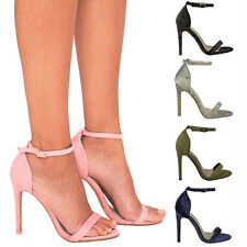 Ladies Womens Peep Toe Barely There High Heel Ankle Strap Sandals Party Shoes