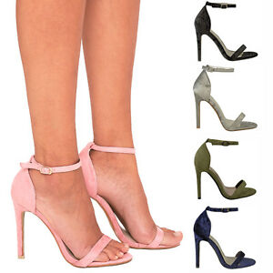 Womens Peep Toe Barely There High Heel Sandals Ankle Strap Party Shoes Summer