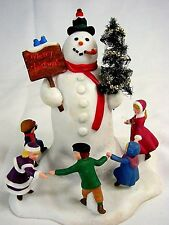 Dept 56 Village Limited Edition SNOWMAN ENCIRCLED BY KIDS - Five Inches - CUTE!!