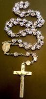 Vintage Catholic Blush Pink Crystal Rosary,Mary Center,SilverTone Crucifix Italy