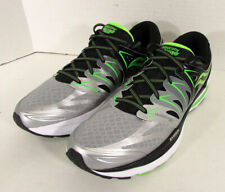 $160 Saucony Mens Hurricane ISO 2 Running Sneakers, Black/Silver/Slime, US 11