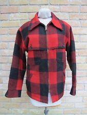 Vintage WOOLRICH Wool Mackinaw 4-Pocket Jacket, Red & Black Buffalo Check; LARGE