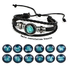 Mystic 12 Constellation Stone Signs Crystal Braided Leather Personality Bracelet