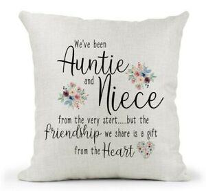 Cream Cushion.. Auntie & Niece Gift, 50th 60th 70th Birthday/Missing You/ Floral